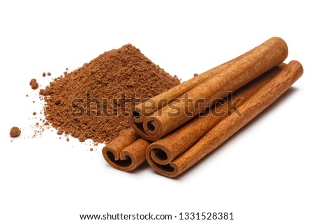 Cinnamon sticks and powder, isolated on white background #1331528381