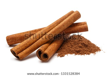 Cinnamon sticks and powder, isolated on white background #1331528384