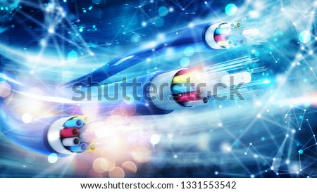 Internet connection with optical fiber. Concept of fast internet Royalty-Free Stock Photo #1331553542