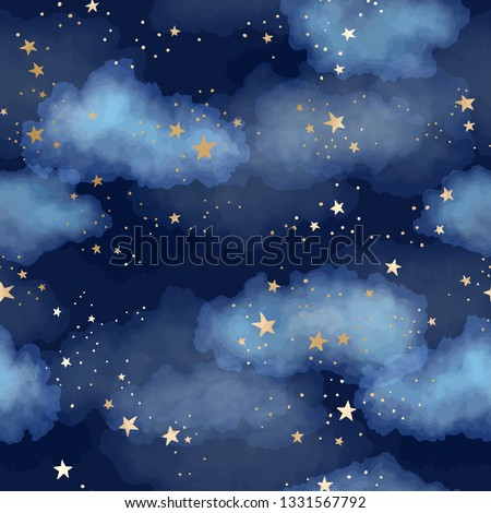 Vector dark blue seamless pattern with gold foil constellations, stars and clouds. Watercolor night sky background Royalty-Free Stock Photo #1331567792