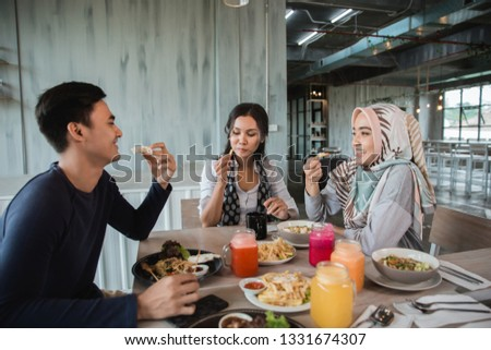 happy asian friends having lunch together in the working business break #1331674307