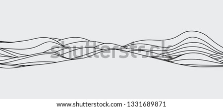 abstract wave curve, for minimal mountain hill or skyline  Royalty-Free Stock Photo #1331689871
