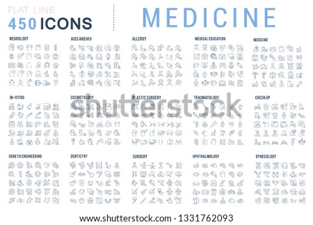 Collection of vector line icons of medicine. Surgery, dentistry, invitro, aids, cancer, check up, orthodontics, biology, vet, clinic, education. Set of flat signs and symbols for web and apps. #1331762093