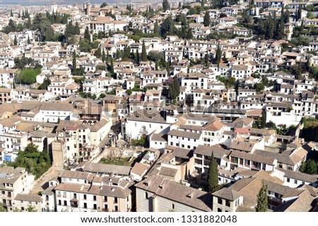 Aerial view of Albayzin (Albaicin) old moorish quarter. Granada, Andalusia, Spain #1331882048