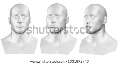 Vector set of isolated male busts of mannequins on white background. 3D. Male bust from different sides. Vector illustration #1331892743