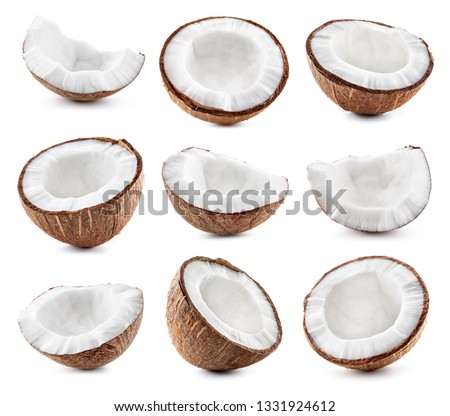 Coconut half, coconut slice and coconut chunk set. Isolate on white. #1331924612