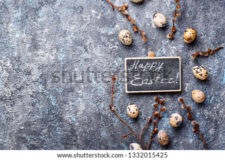 Easter festive background with quail eggs #1332015425