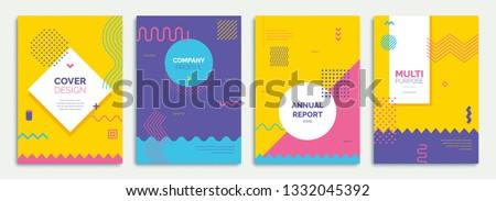 Fun Geometrical Theme Cover/Poster Design Royalty-Free Stock Photo #1332045392