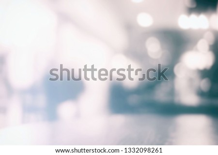 White Blurred Bokeh of Coffee Shop Background. #1332098261
