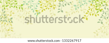 Spring background of ivy vines and leaves on pretty floral yellow or beige border in a silhouette outline design pattern