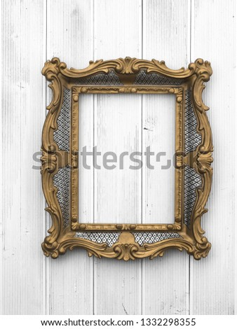 vintage victorian baroque gilded frame on old wall #1332298355
