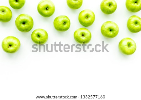 food pattern with green apples on white background top view space for text
