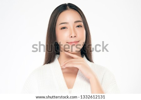 Beautiful Young asian Woman with Clean Fresh Skin look. Girl beauty face care. Facial treatment. Cosmetology, beauty and spa. #1332612131
