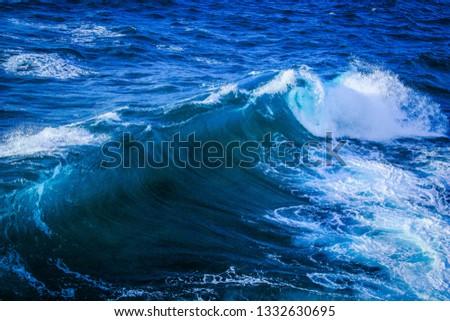 Medium- sized waves off of south-east shore of Kauai, Hawaii  #1332630695
