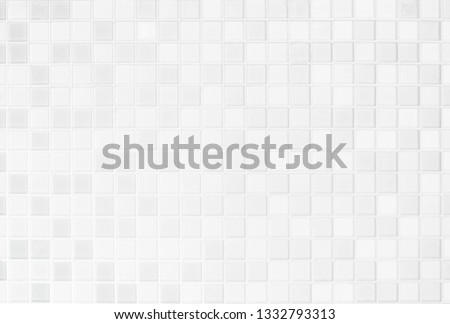 White or gray ceramic wall and floor tiles abstract background. Design geometric mosaic texture for the decoration bedroom. Simple seamless pattern for backdrop advertising banner poster or web. #1332793313