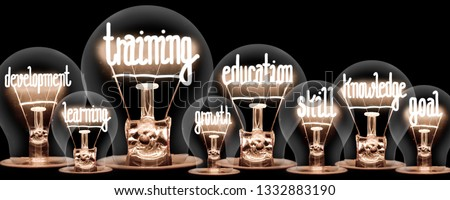 Photo of light bulbs with shining fibers in a shape of TRAINING and EDUCATION concept related words isolated on black background #1332883190