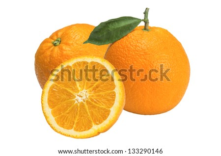 picture of Valencia oranges still life with white background