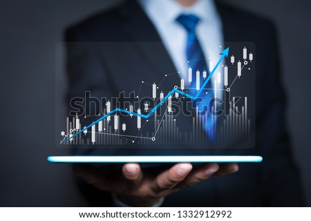 Data analytics report and key performance indicators on information dashboard for Business strategy, Stock market indicator or forex trading graph and financial investment #1332912992