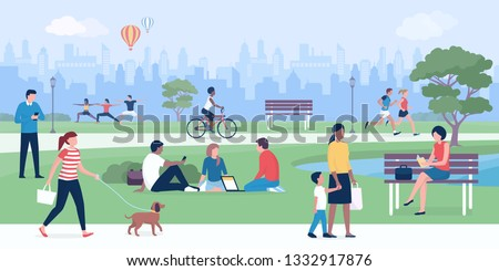 Happy people enjoying at the park, practicing sports, relaxing and connecting Royalty-Free Stock Photo #1332917876