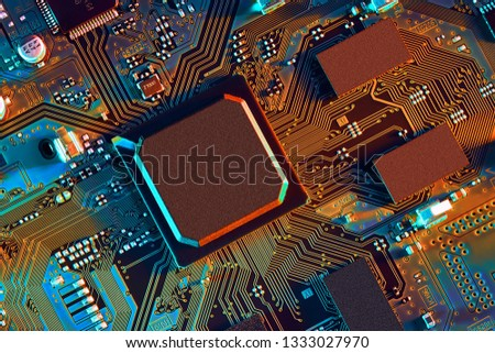 Electronic circuit board close up. #1333027970