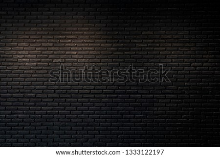 Old  wall with  brick texture ,black brick wall texture for interior design vintage dark tone. #1333122197