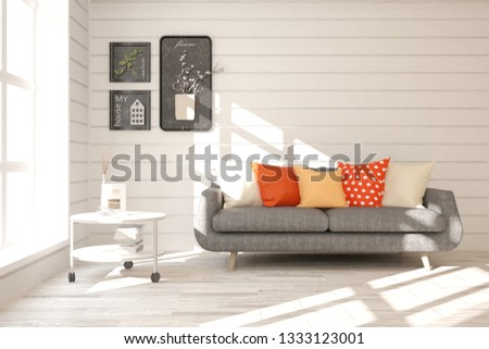 White stylish minimalist room with sofa. Scandinavian interior design. 3D illustration #1333123001