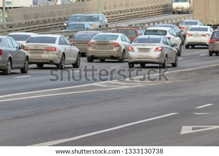 MOSCOW, RUSSIA - MARCH 07, 2019: Traffic jam in the city in rush hour. #1333130738