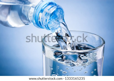 Pouring water from bottle into glass on blue background #1333165235