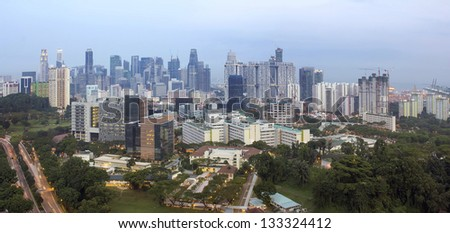 Singapore City Financial Central Business District at Blue Hour After Sunset Panorama #133324412