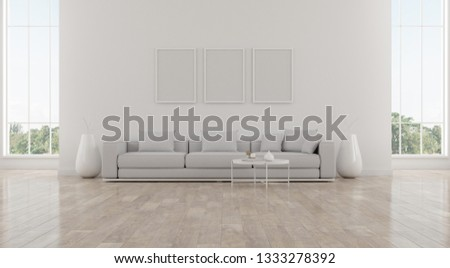 View of white living room in cozy style with furniture on bright laminate floor.Perspective of minimal design architecture. 3d rendering. #1333278392
