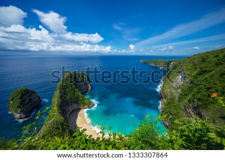 Aerial view of Kelingking Beach aka T-Rex Head Beach in Nusa Penida, Bali, Indonesia #1333307864