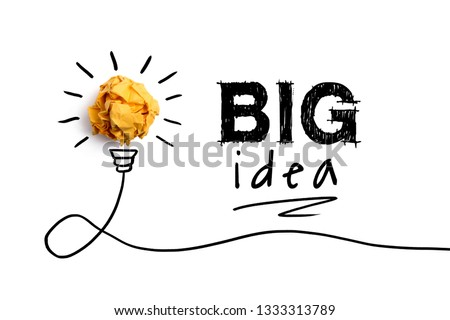 Big idea, Inspiration, New idea and Innovation concept with Crumpled Paper light bulb aside.