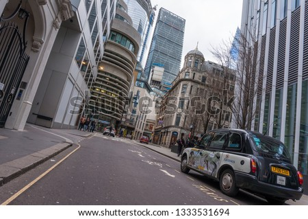 London, England - March 2019: The Iconic London Cab, a symbol of britain metropole #1333531694
