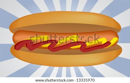 Hotdog illustration, sausage between buns with ketchup and mustard