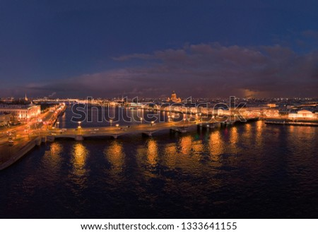 Aerial photo of Neva river and Bridge Blagoveshchensky in Saint Petersburg in the night with light reflections in water #1333641155