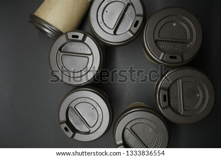Paper cups with cover top view. Coffee lifestyle concept  #1333836554