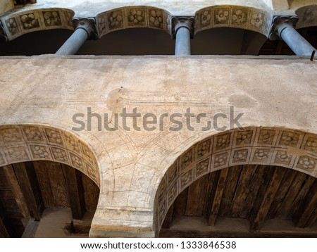 BERGAMO, ITALY - FEBRUARY 19, 2019: hall of medieval palace Palazzo del Podesta in Museo delle Storie (Historical Museum) in Citta Alta (Upper Town) of Bergamo city, Lombardy #1333846538