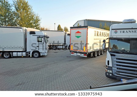 Mercedes Trucks at Transemex 's park at October 14, 2013 in Dunaharaszti, Hungary #1333975943