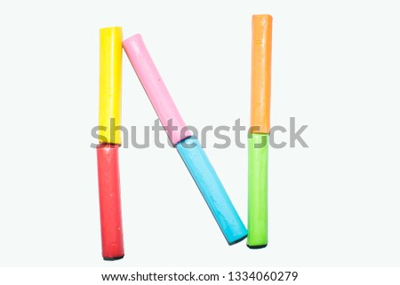 Letter N - Clay sticks alphabet isolate over white background #1334060279