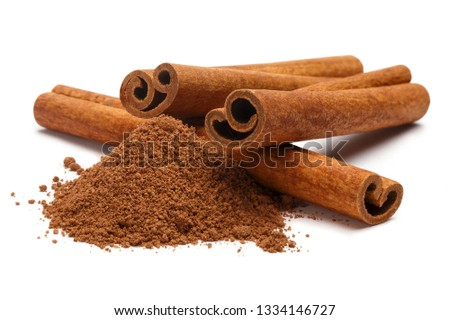 Cinnamon sticks and powder, isolated on white background #1334146727