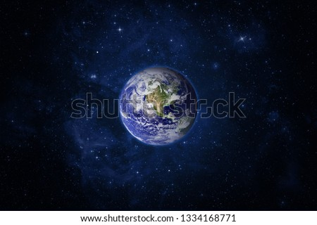 Space and planet Earth. Western hemisphere. Galaxy, nebula and Earth. This image elements furnished by NASA. Royalty-Free Stock Photo #1334168771