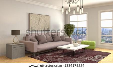Interior of the living room. 3D illustration #1334175224