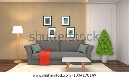 Interior of the living room. 3D illustration #1334178149