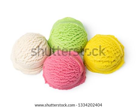 Ice cream ball isolated on white background #1334202404