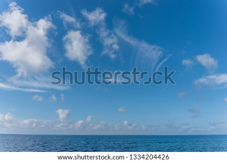 Cloudscape Over the Blue Southern Mediterranean Sea Coast