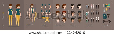 Casual Clothes Style. Girl Cartoon Character for Animation. Default Body Parts Poses with Face Emotions. Five Ethnic Styles Royalty-Free Stock Photo #1334242010