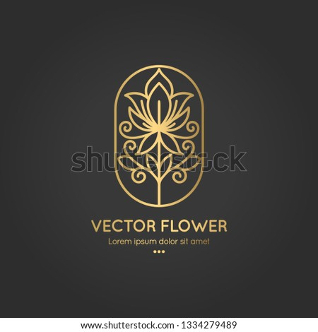 Linear flower emblem. Elegant, classic elements. Can be used for jewelry, beauty and fashion industry. Great for logo, monogram, invitation, flyer, menu, brochure, background, or any desired idea. #1334279489