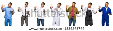 Set of doctor, barber and businessman taking a lot of money #1334298794