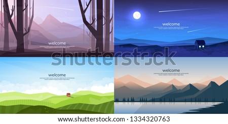 Vector landscapes set  #1334320763
