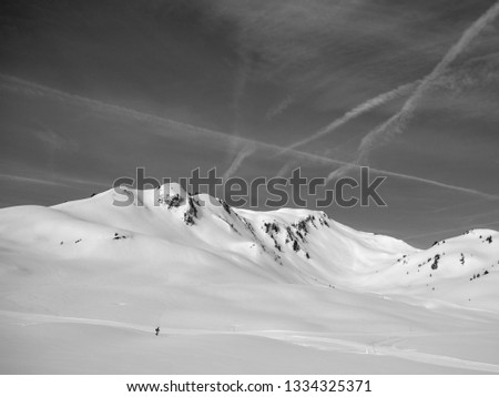 snow mountains in black and white #1334325371